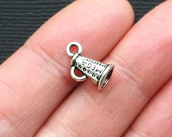 10 Cheerleader Megaphone Charms Antique  Silver Tone 3 Dimensional - SC2979