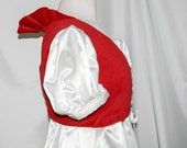 "Ready to Ship -Red Velvet Regency Sleeveless Spencer with Ruff - 35"" Bust -  Regal Ball Gown Accessory"