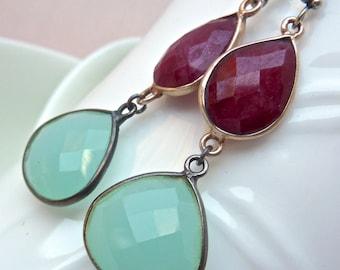 High Contrast Raspberry Ruby and Ocean Blue Gemstone Drop Earrings. Geometric Silver Chandelier. Bezel Beadwork.