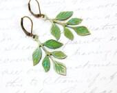 Patina Branch Earrings Woodland Jewellery Nature Inspired Green Verdigris Patina Brass Rustic Leaf Dangle Earrings Spring Garden Wedding