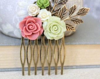 Green Flower Hair Comb Bridal Hair Comb Floral Collage Comb Leaf Branch Country Rustic Wedding Hair Accessories Dusty Pink Rose Cream Rose