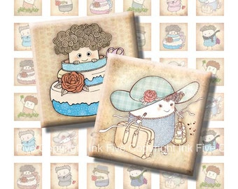 1 inch squares Happy Beans digital collage sheet. Printable handdrawn images. Vintage style digital download sheet. Characters for pendants