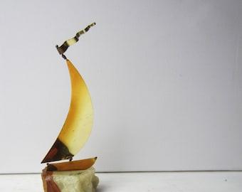 Vintage DeMott Sailboat Sculpture - Stone and Brass - Nautical - Coastal - Beach House - Decor