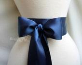 Navy Satin Sash Belt - 2 1/4in. wide Double Faced Satin Ribbon Sash - Beach Summer Nautical Wedding - Bridal Bridesmaids Flower Girl