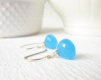 Neon Blue Chalcedony Earrings - Bright Blue Gemstone Jewelry - Sterling Silver or 14k Gold Wire Wrapped Earrings - Something Blue