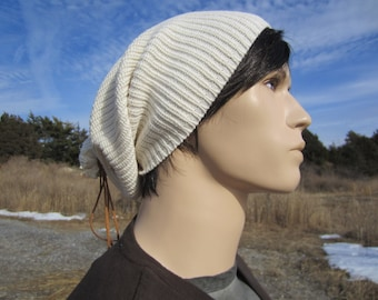 Warm Knit Winter Hat Ivory Men's Beanie Winter White Loose Knitted Baggy Leather Tie Back Tam A1448