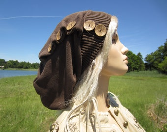 Baggy Long Back Dreadlock Tam Slouchy Beanie Hat Brown Cocoa Distressed Cotton Snood Coconut Buttons A1158