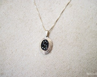 gold pendant Setted With Black diamonds, gold necklace,  Oval Necklace, pendant with diamonds