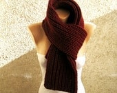 Hand Knit Burgundy Men Women Scarf, Long Thick Soft Double face Scarf, Organic Wool Blend yarn Wrap, Winter accessory, Christmas gift idea