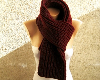Hand Knit Burgundy Men lpaca Scarf, Long Thick Soft Double face Scarf, Organic Wool Blend yarn Wrap, Winter accessory, Christmas gift idea