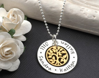 "Family Tree Necklace -  1"" open circle washer with gold tree charm - mixed metal mommy jewelry"