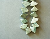 Sage Marble Beads, Funky Triangle Shaped Green Marble 16 Inch Strand, Chunky Boho Jewelry Supplies