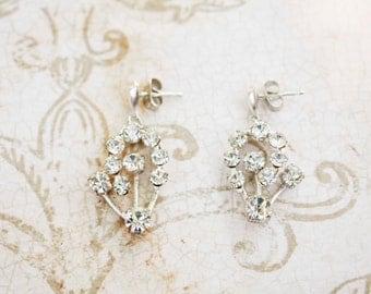 Vintage Glamour Rhinestone Cluster Earrings in Silver - Repurposed, Crystal, One of a Kind