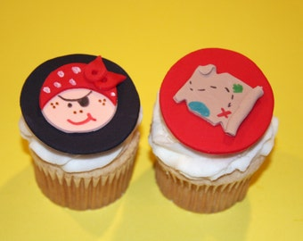 Fondant cupcake toppers Pirate Party Pirate Map