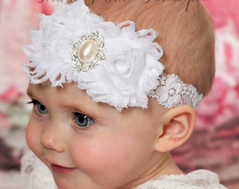 White baby Headband, christening headband, baptism Headband,Baby Headbands,Lace  Headband, girl headband, Newborn Headband, Girls Headbands.
