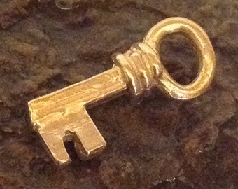 Gold Skeleton Key Charm - 1 Gold Plate over Sterling Silver Key Charm - Rustic Charm AC4