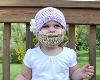 Crochet Baby Girl Beanie with Beard Hat - 3 months to 10 years - Orchid and Cream with Bone Beard - MADE TO ORDER