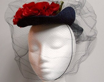 1940s Vintage Blue Straw Hat With Flowers & Veil
