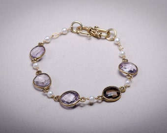 Pink Amethyst, Smoky Quartz, Pearl & Gold Bracelet
