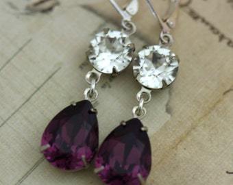 Purple Earrings PLum Earrings Amethyst Earrings Swarovski Crystals Silver Dangle Earrings Pear Shaped Earrings Also available in clip on