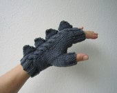 Dragon, dinosaur, monster slate grey fingerless mittens gloves, 100% pure Australian wool,medium female adult's size - HotScones