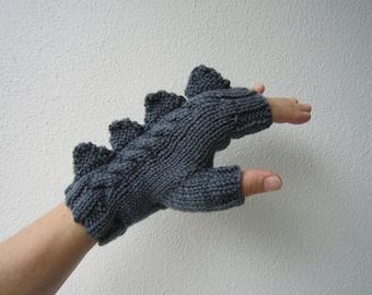 Dragon, dinosaur, monster slate grey  fingerless mittens gloves, 100% pure Australian wool,medium female adult's size