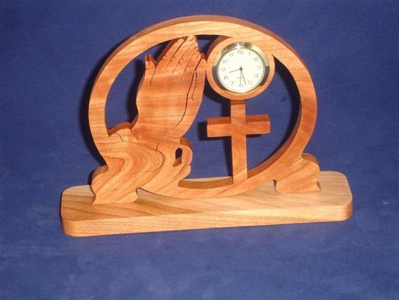 Praying Hands and Cross Desk Clock Handmade From Cherry Wood