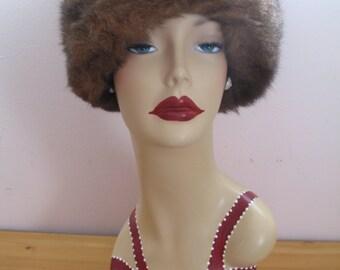1950's Fur Hat, Snow Bunny, Genuine Natural Fur, Marche Tag