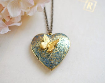 Heart Locket Necklace with Butterfly Large Blue Verdigris Patina Golden Brass Heart Locket Heart Necklace Gift for her mothers day gift
