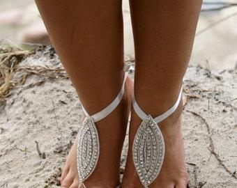 Bridal Swarovski Crystal Barefoot Sandals,Beach Shoes,Wedding Shoes,Boho Slave Anklet, foot jewelry,ankle bracelet, KAMARIA BAREFOOT SANDALS