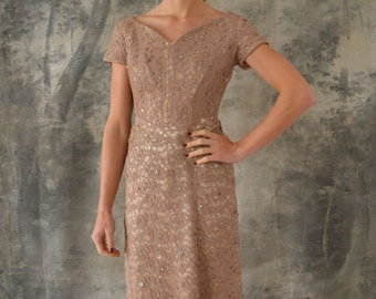 1950s Taupe Lace Cocktail Dress