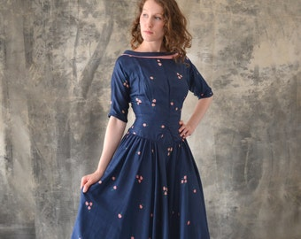 1950s Navy Silk Print Dress