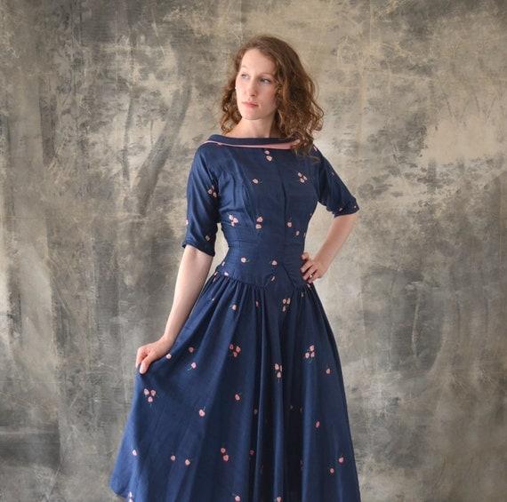 1950s Navy Silk Print Dress