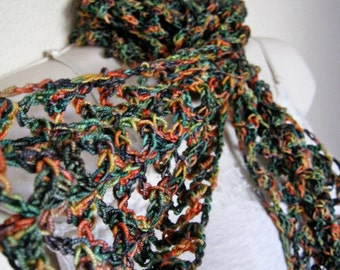 Warm Rainbow Lace Crochet Wool Scarf