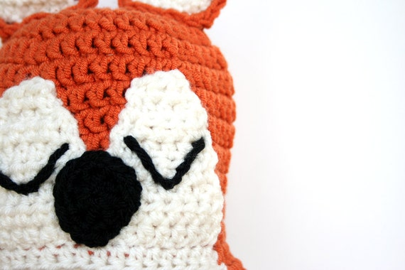 Crochet fox hat, knit fox hat, Sleepy fox hat, crochet animal hat ...