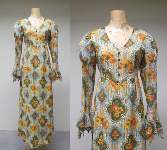 Vintage 1970s Dress / 70s Voile Festival Maxi Gown / Small
