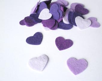 Purple hearts confetti, mini felt heart confetti perfect for valentines, weddings, party decoration and general crafts.