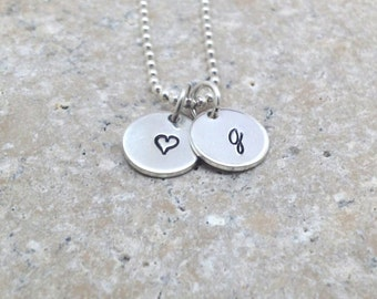 Initial Necklace, Heart Necklace, Letter g Necklace, Initial Jewelry, Sterling Silver Jewelry, Hand Stamped, Charm Necklace, g, Personalized