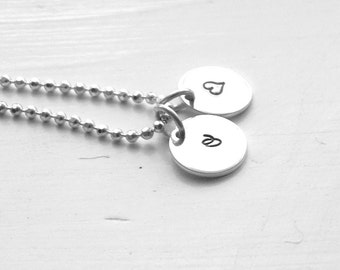 Initial Necklace with Heart Charm, Heart Necklace, Initial Pendant, Letter o Necklace, All Letters Available, Sterling Silver Jewelry, o