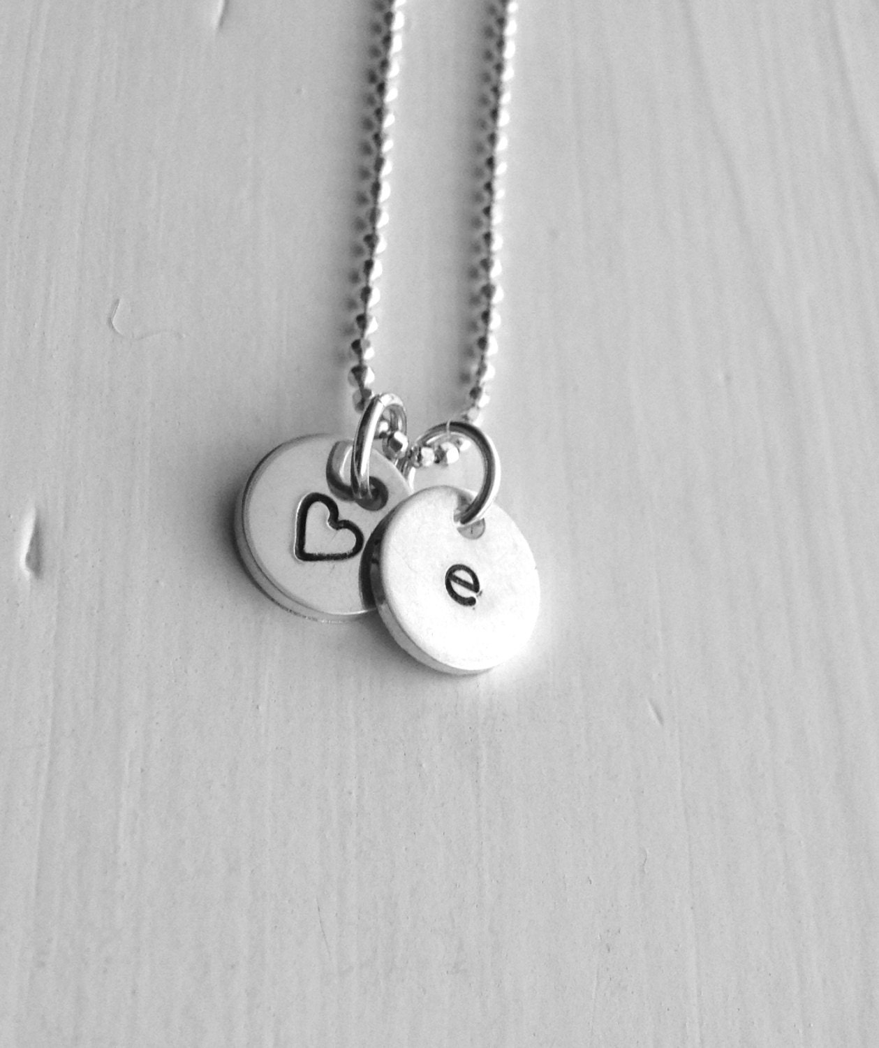 initial necklace letter e necklace tiny heart necklace personalized jewelry sterling silver jewelry all letters letter e necklace e