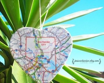 Christmas Custom Map Heart keepsake ornament