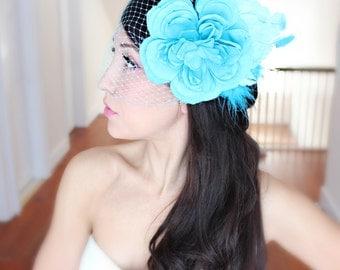 CUSTOM ORDER Wedding Flowers and Veil, 5 pc set, Tiara, wedding accessory, bridal headpiece - blue, aqua by DeLoop