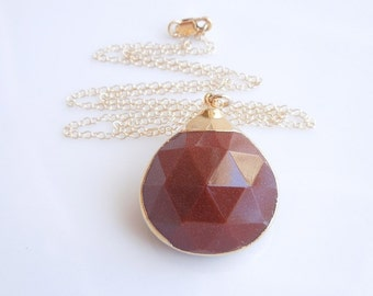 Goldstone Necklace in Golden Brown