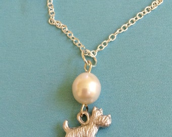 Scottie Dog and Pearl Necklace