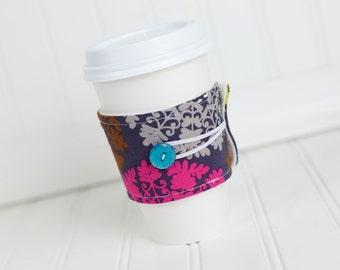 Coffee Sleeve Green, Blue, Pink, and Brown Medallion Print, Women's Cuff Cozy, Reusable, Coworker Gift Idea