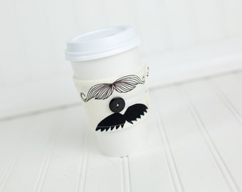 Mustache Coffee Sleeve Coffee White and Black Moustache, Reusable Adjustable Coffee Cozy