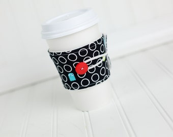 Coffee Sleeve Video Game Print in Black, Red, Blue and White, Geekery Gift for Men or Women