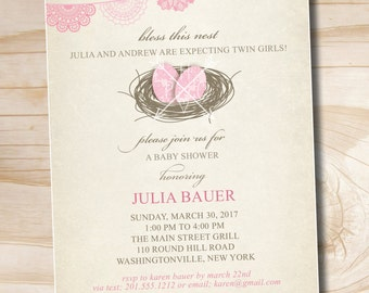 BLESS THIS NEST Shabby Chic Bird Twin Baby Shower invitation - Printable Digital file or Printed Invitations