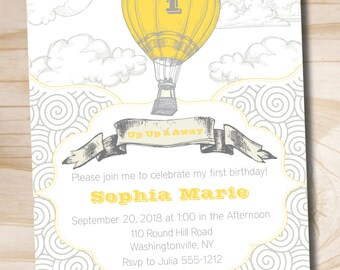 Up Up and Away Birthday Invitation - You Print