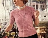 Majestic lace jumper c.1950s, Sirdar No. 7618  - vintage knitting pattern PDF (525) size 34-36-38-40